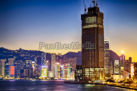 hong kong habour sunset