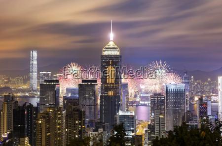 hong kong city firework