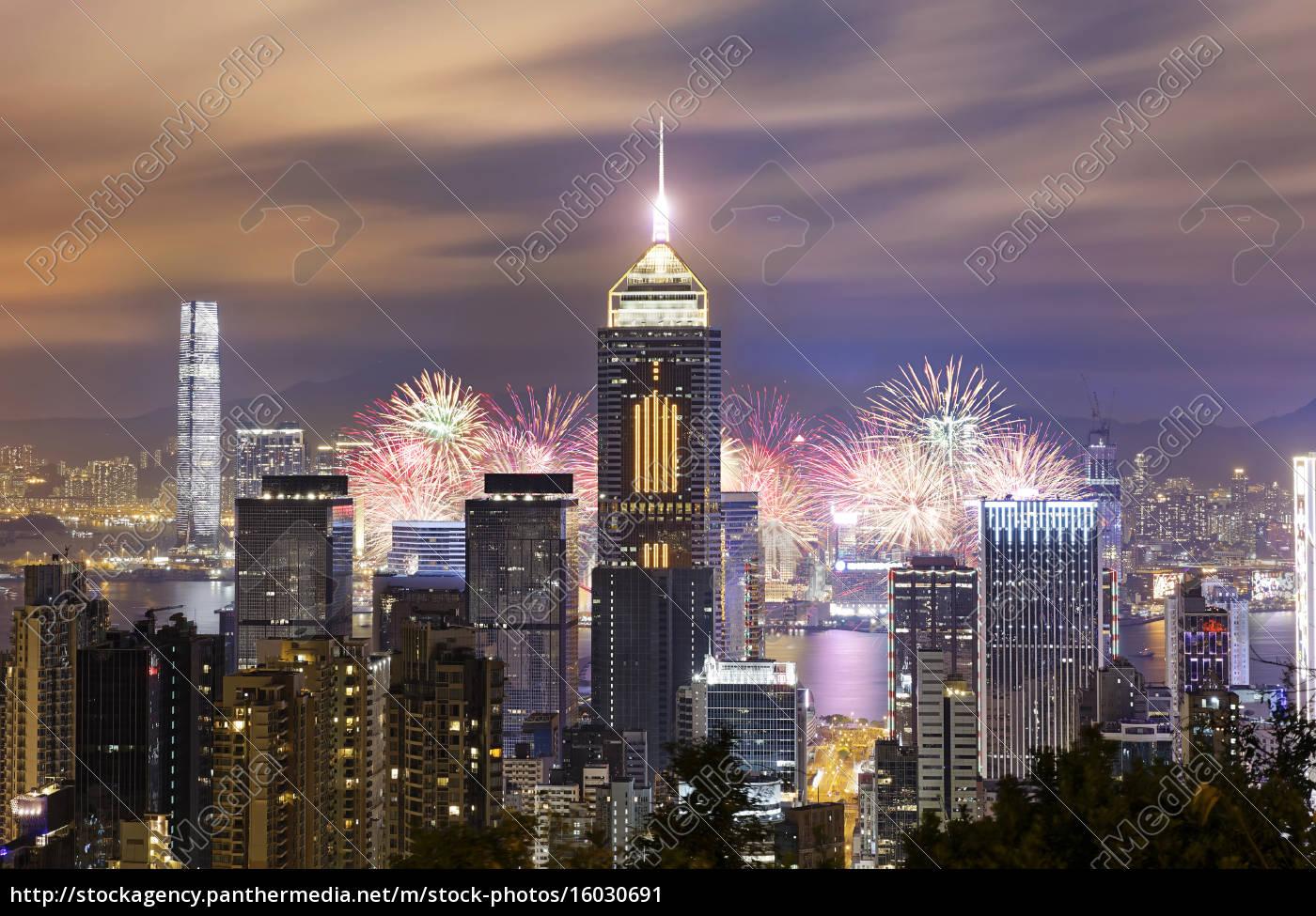 hong, kong, city, feuerwerk - 16030691