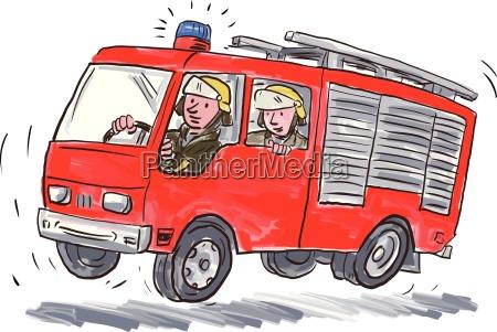 red fire truck feuerwehrmann karikatur