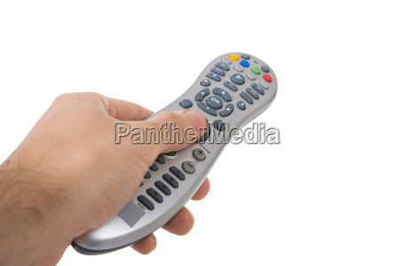 cropped hand holding remote control