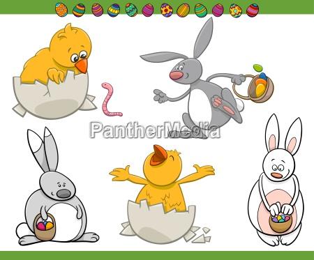 easter characters cartoon set