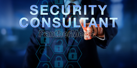 cyber professional pushing security consultant