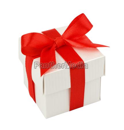 weiss geschenk box mit einer roten