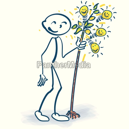 stick figure with little tree and