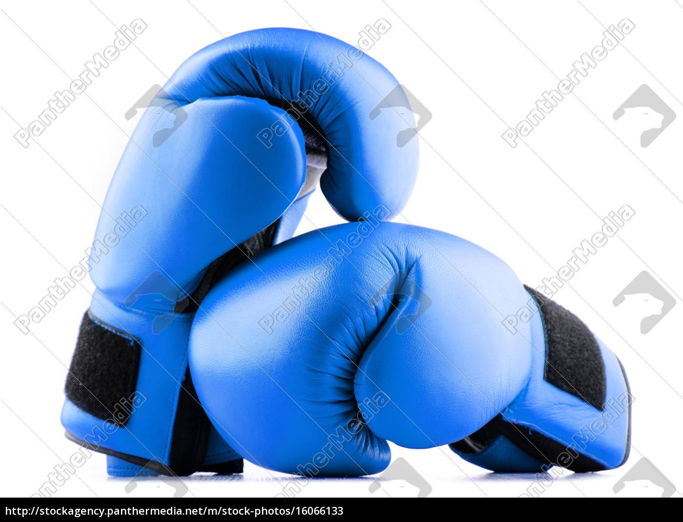 paare, der, blauen, leder-boxhandschuhe, isoliert, auf - 16066133