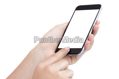 female hand using phone isolated on