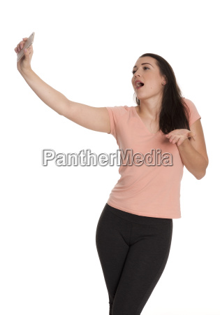 young woman singing loudly and makes