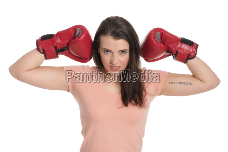 young woman with red boxing gloves