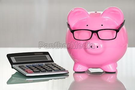sparschwein mit brille und rechner