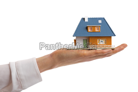 family house on hand isolated on