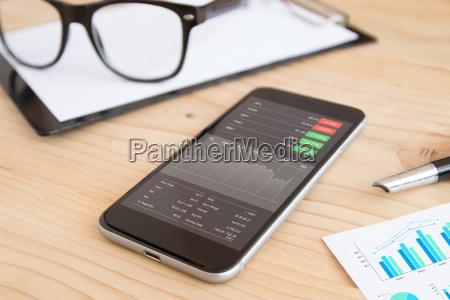 telefon und unternehmen stock anwendung auf