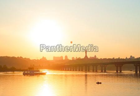 cityscape of kiev at sunset ukraine