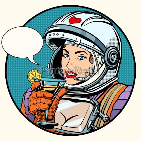 frau kosmonaut cocktail lieben