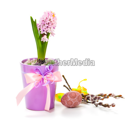 easter decoration with egg and pink