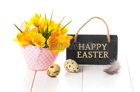 easter decoration on white wooden background