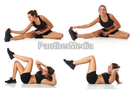 fitness collage junge frau die uebung