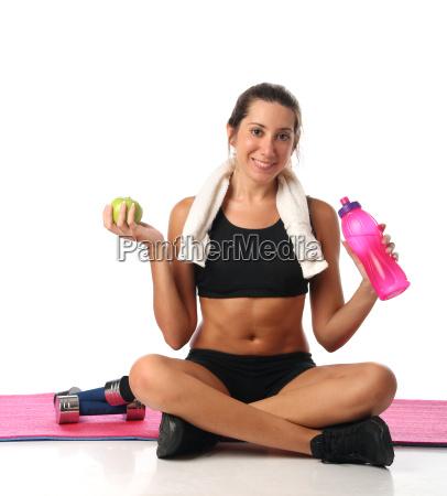 frau gesundheit sport freisteller lebensstil mass