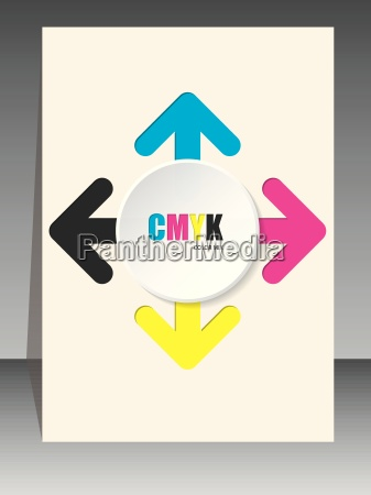 cmyk brochure with color arrows and