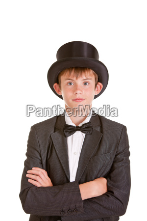 stylish young boy wearing vintage formal