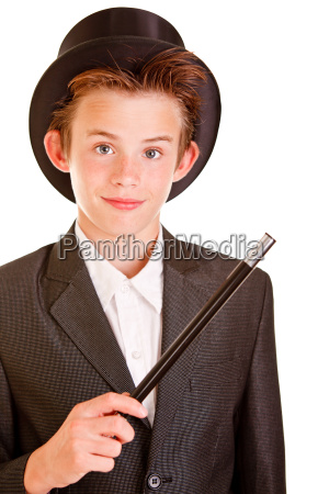 young boy in elegant magician attire