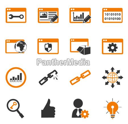 seo und entwicklung icons set