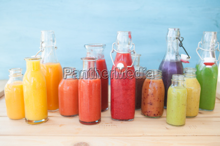 different colorful smoothie