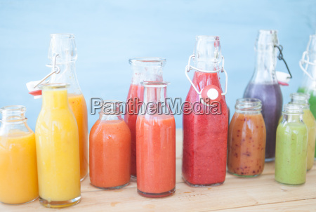 various colorful smoothie