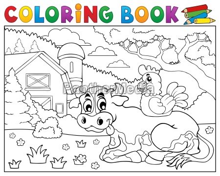 coloring book cow near farm theme