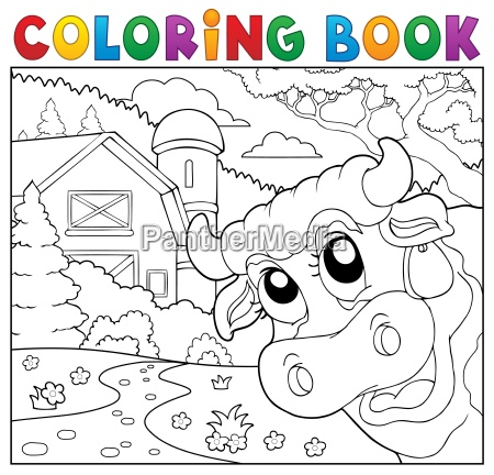 coloring book lurking cow near farm