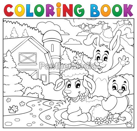 coloring book happy animals near farm