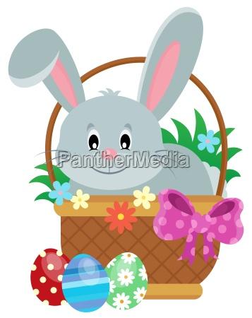 osterkorb mit kaninchenthema 1