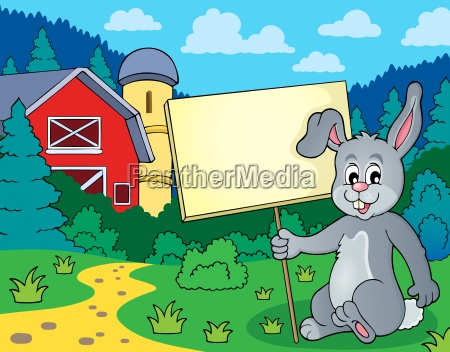 rabbit with sign theme image 2