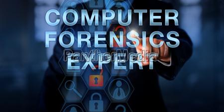 officer touching computer forensics expert