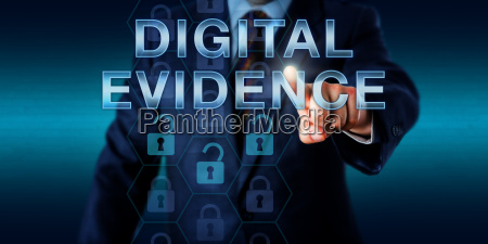 cyber investigator touching digital evidence