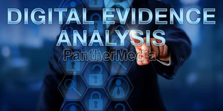 investigator touching digital evidence analysis