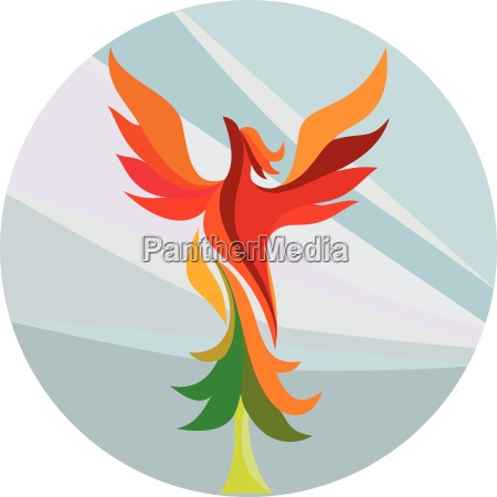 phoenix rising burning tree kreis retro