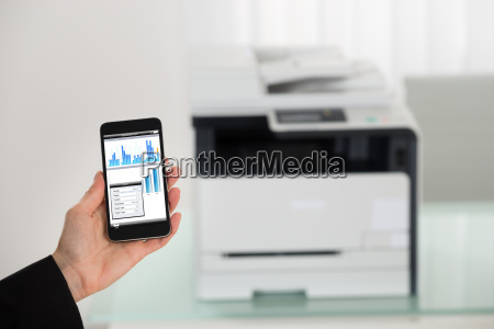 businesswoman hand giving print command on