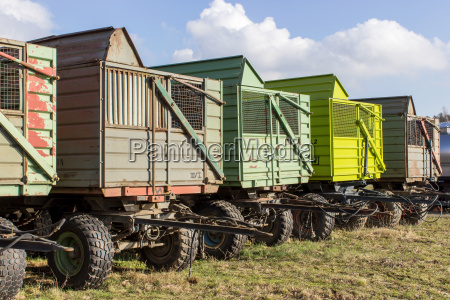 row with trailers for agricultural vehicles