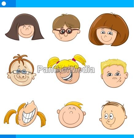 cartoon children characters set