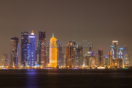 doha city skyline at night qatar