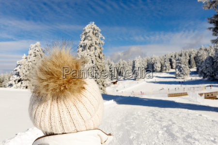 winter mountain landscape with ski lifts