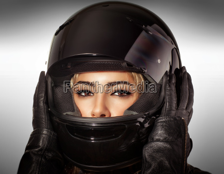 beautiful biker woman