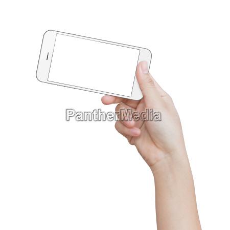 hand holding white phone isolated on