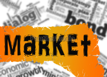 word cloud with market word on