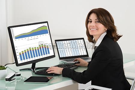 geschaeftsfrau ueberpruefung finanzbericht auf computer