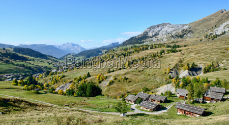 mountain landscape with houses in french