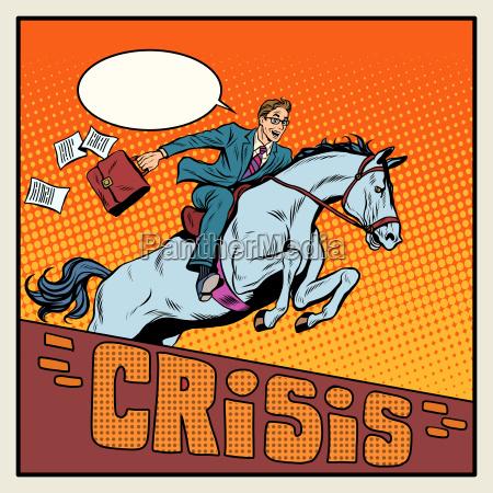 businessman on a horse jumping barrier
