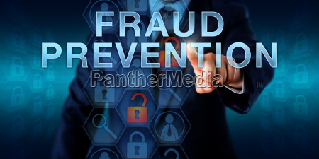 forensic examiner pushing fraud prevention