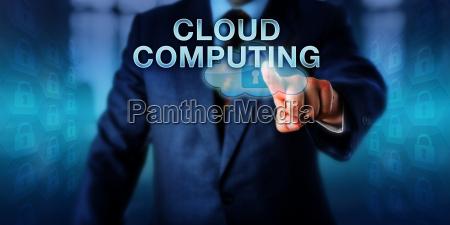 unternehmensbenutzer der cloud computing beruehrt